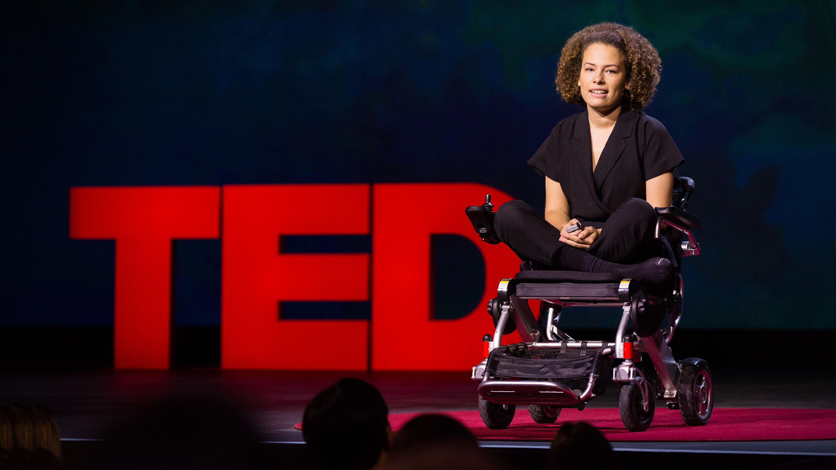 Jen Brea speaks during Fellows talk session at TEDSummit2016, June 26 - 30, 2016, Banff, Canada. Photo: Ryan Lash / TED