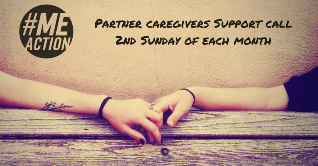 two arms meet in the middle of a bench Wording: #MEAction Partner Caregivers Meeting The 2nd Sunday of each month